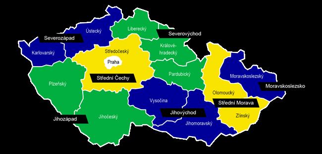 Regionální politika EU rozlišuje tyto regiony NUTS II v ČR (Zdroj: MMR)