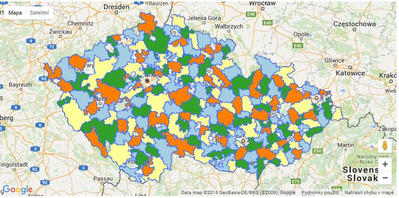 Mapa místních akčních skupin (MAS) v ČR. Převzato z webu NS MAS.