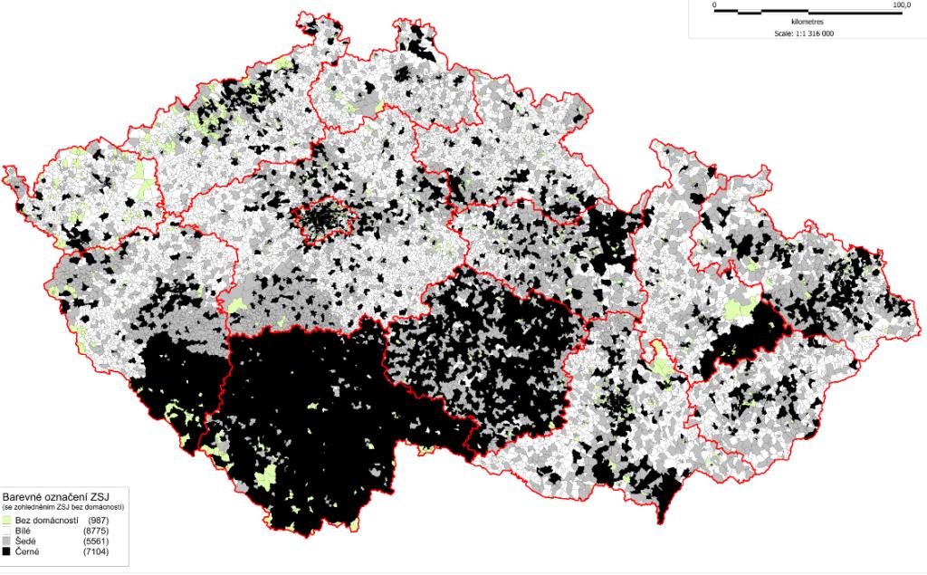 Mapa bílých míst vysokorychlostního internetu (NGA). Zdroj: ČTÚ