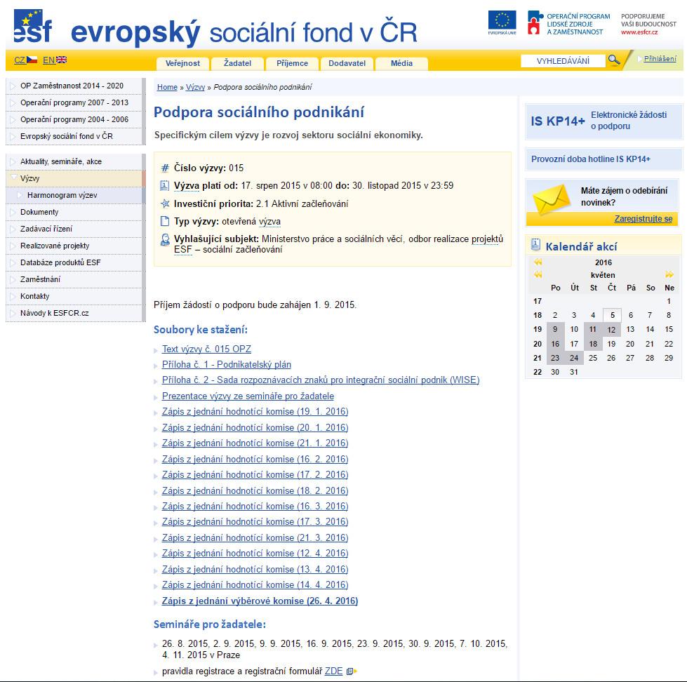 Výzva ESF - Sociální podnikání